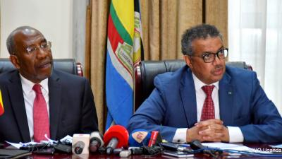 Prime Minster of Uganda Dr Ruhakana Ruganda and Dr Tedros address the media in Kampala