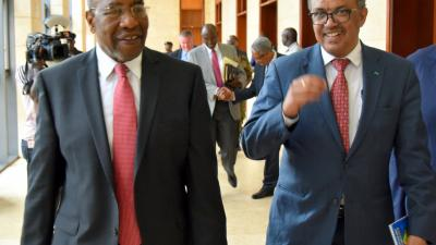 Right Hon Ruhakana Rugunda and Dr Tedros share a light moment