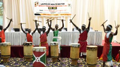 Refugee dancers entertain the guests at the launch