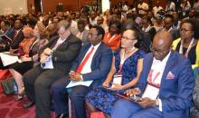 Delegates at the AHAIC conference in Nairobi includind Dr Gitahi, Amref Health Agenda, first right, Kellen Kariuki,  Amref international board,  Dr Jackson Kioko DMS and  WR Rudi Eggers, fourth right