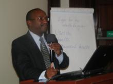Dr Ian Njeru, head of Disease Surveillance and Response Unit in MOH addressing participants