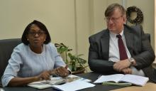 Dr Moeti with WR Dr Rudi Eggers during a meeting with Kenya WCO staff March 6