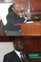 Drs Lynda Makayoto and Otipo Shikanga of MOH addressing the TOT participants