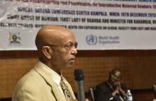 WHO Country Representative Dr. Alemu Wondimagegnehu delivers remarks on behalf of the UN family in Uganda
