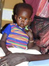 A child with SAM and medical comlications receiving treatment at stablization center in Juba PoC