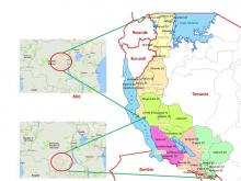 Map showing the six regions bordering DRC where risk assessment and intensified AFP surveillance was conducted