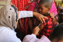 Vacinating a child during Measles and EOS campaign Somali Jigjiga town