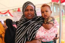 Mother with her baby during Measles and EOS campaign at Somali Jigjiga town