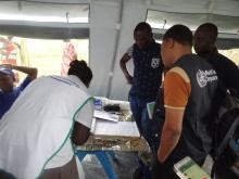 The WHO rapid response team investigating cholera cases in Kapoita. Photo WHO.