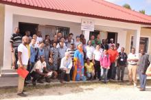 Participants during a visit to the Schistosomiasis Control Project Laboratory in Pemba