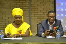 Mr Axel Tibinyane  acting Deputy Permanent Secretary  (MoHSS) and Dr Helena Andjaba Psychiatrist a the Mental Health Centre during the public lecture on Mental Health in the workplace.jpg 1
