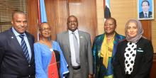 Botswana Acting President Hon Masisi, centre, flanked on his right by Dr Moeti (RD) and Dr M Ovberedjo (WR Botswana) and to his left by Minister Hon D Makgato and Ms S Halabi (the Min Permanent Secretary)