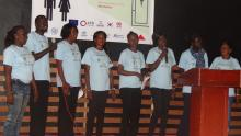 Mental health workers entertaining guests. Photo: WHO.