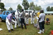 The burial team getting ready for transportation and burial of the second Marburg confirmed case in Kween district, eastern Uganda