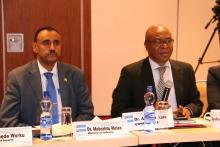 R to L Dr Akpaka Kalu, Representative to WHO Ethiopia in his address and Dr Mebratu Meles, State Minister to Ministry of Industry