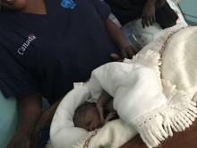 Baby Nunu, who was born during the inauguration ceremony of the Yambio maternity complex.