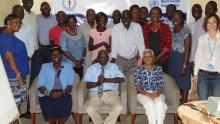 Participants (MoH and WHO) posing for a group photo.