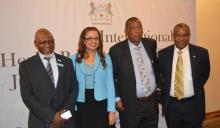 Dr H Jibril (Botswana MoHw Deputy Perm Secretary), Dr TK Mengestu (WHO Representative for Swaziland), Mr S Kunene (Swaziland's MoH Under-Secretary) and Dr M Ovberedjo (WHO Representative for Botswana)