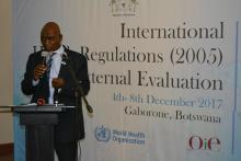 Dr H Jibril, Botswana MoHW's Deputy Permanent Secretary, giving some remarks