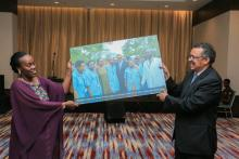 Community Health Workers' gift to DG WHO offered by the Minister of Health
