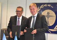 DG Dr Tedros with UN Environment Executive Director Mr Erik Solheim after they signed an agreement between WHO and UN Environment to jointly combat air pollution and climate change.
