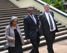 Dr Tedros with the UNON Director General Ms Sahle-Work Zewde and WR Dr Rudi Eggers