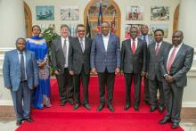DG Dr Tedros with President Uhuru Kenyatta at State House in a group picture with government officials including Health Cabinet Secretaries  Dr Cleopa Mailu (4th right), Ambassador Amina Mohamed,  Foreign Affairs and WR Dr Rudi Eggers (3rd left)