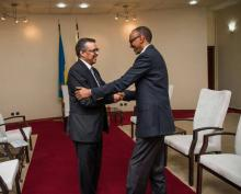 Dr Tedros, DG WHO with H.E. Paul Kagame, President of the Republic of Rwanda