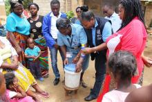 Demostrating water treatment in the community