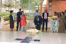 Wreaths by WHO DG at Nyamata Genocide Memorial Site