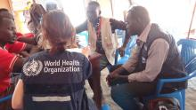 Ms Marina and Dr Barnaba providing technical support to partners working in the Protection of Civilians (PoC) stabilization center