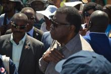 Head of State, His Excellency Dr Hage Geingob during this visit to the epicentre of the Hepatitis E outbreak in the Havana informal Settlement