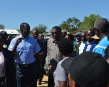 The Minister of Health and Social Services Dr Benhard Haufiku with the Head of State, His Excellency Dr Hage Geingob during his familiarization visit to Havana Informal Settlement