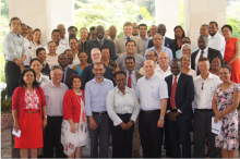 Group photo of the participants at the opening of the JEE workshop (front row, fifth and sixth from the left, WHO Liaison Officer Dr Gakuruh and Minister of Health Honorable Adam)