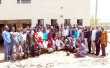 WHO staff in-group photo with Clinicians from Jos University Teaching Hospital, Disease Surveillance and Notification Oficers after training on active case search