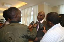 Dr Kalu Akapaka WHO ETH Representative while intervewed by different medias follwing the press conference