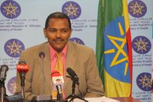 H.E. Dr Kebede Worku State Minister of Health  while briefing media during press conference