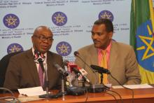 H.E. Dr Kebede Worku, State Minister of Health and Dr Akpaka Kalu, Representative to WHO Ethiopia briefing the Media