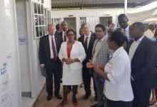 A health worker speaks to health CS Kariuki when she visited Mama Lucy Kibaki Hospital in commemoration of World TB Day. She was accompanied by health officials and stakeholders as well as Mr Robert Godec (left) US Ambassador to Kenya and Dr Rudi Eggers, WHO Representative, Kenya (4th right)