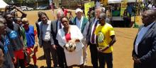 Football teams meet health CS Sicily Kariuki during the World TB Day in Kenya. A football tournament dubbed 'Mulika TB Tournament' saw local football teams play while creating public awareness on TB