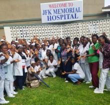 Cross section of Healthcare workers at the JFK Medical Center celebrating WHHD , Monrovia, Liberia