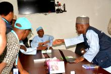 Yobe Commissioner for Health and WHO State Coordinator (right) after the press briefing in Damaturu
