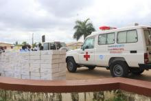 Ambulance and BB lotions donated by WHO to the Ministry of Health