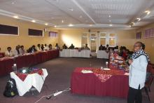 The WHO EPI Surveillance Officer making a presentation during the training