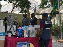 Hon Deputy Minister for Health, Ms Harusi Said Suleiman, receiving the items for Zanzibar