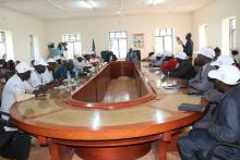 A briefing meeting of the high level Ebola Preparedness Team with the Governor and top leadership in Yambio town
