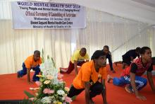 Yoga demonstration by patients and staff of the Mental Health Care Centre.