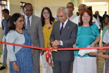 Dr. A. Husnoo, Health Minister inaugurating the exhibition cum sale of creative handmade crafts of the patients from the Occupational Therapy Department.