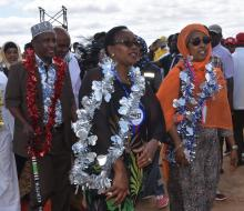 Health Cabinet Secretary Mrs Sicily Kariuki  (middle) with her Somalia counterpart Hon Fauziya Abikar Nur and Garissa governor Ali Korane as they arrived at the Garissa venue