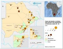 Map showing distribution of diarrhoea cases and deaths in children below five years in Botswana, week 36 - 42